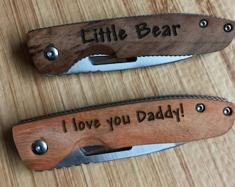 Personalized engraved wood pocketknife grandma gift fathers day gift grandpa papa