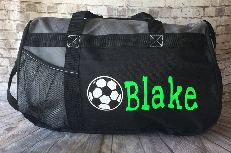 fb84408499 Personalized soccer duffle bag with name wedding bag karate