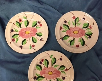 Trio of Pink Flowered Saucers