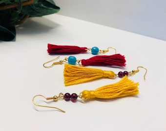 Tassel and bead earrings