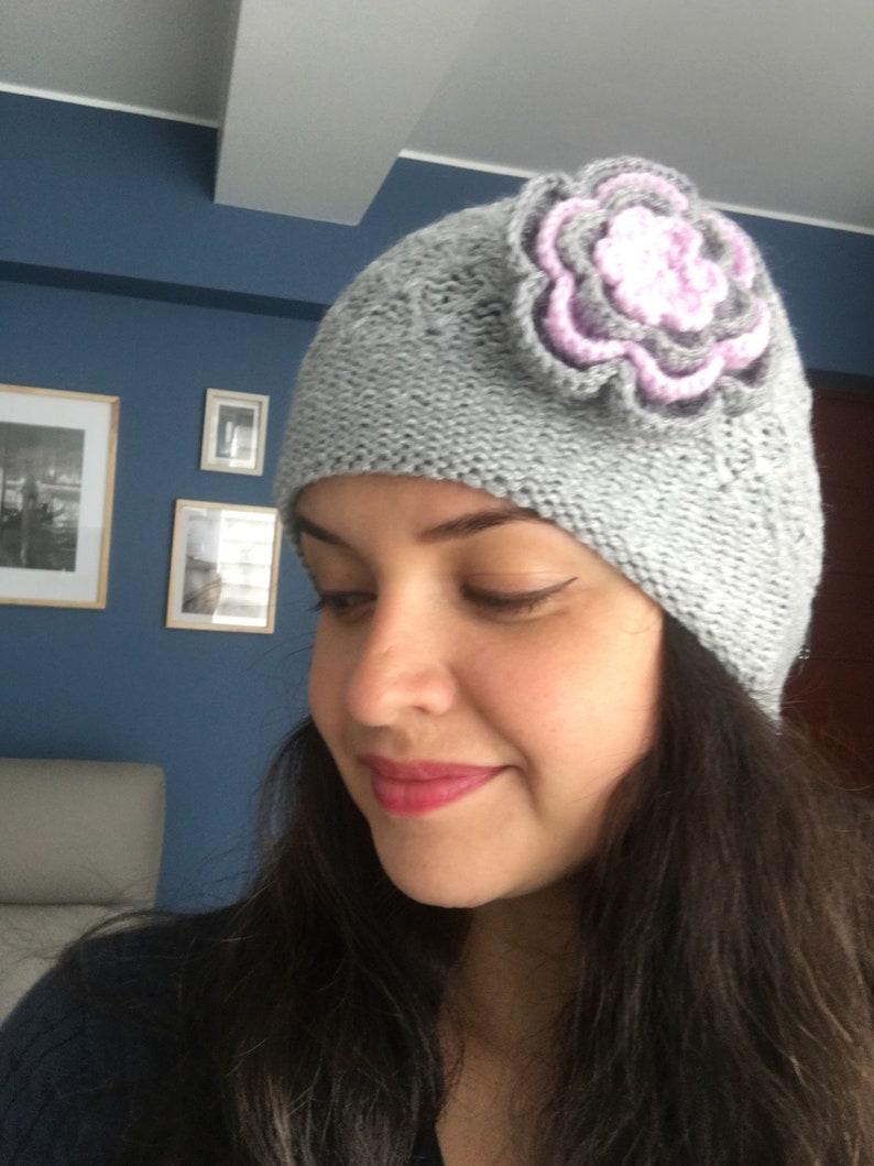 Fashion Knit Beanie Alpaca Beanie flower Knit Alpaca Wool Hat Winter Alpaca toque ribbed brim