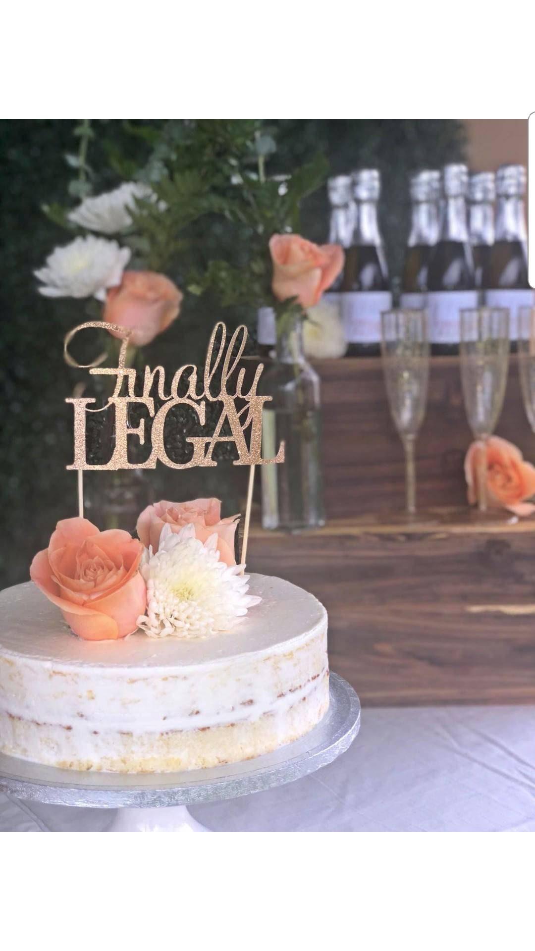 Finally Legal 21st Birthday Rose Gold Glitter Cake Topper
