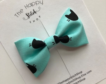 3217e6c50 Bow tie | Cat bow | Teal and black bow | Teal bow | Cat bow tie | Cat lover  bow | Meow bow