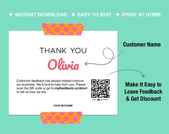 Printable Review Cards Feedback Cards Packaging Inserts For Etsy