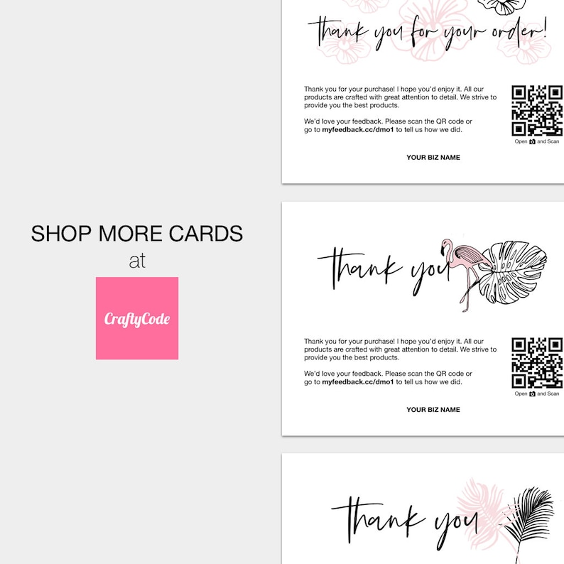 Printable Thank You For Your Purchase Cards Package Inserts Business Thank You Cards Perfect for Small Business /& Online Shops
