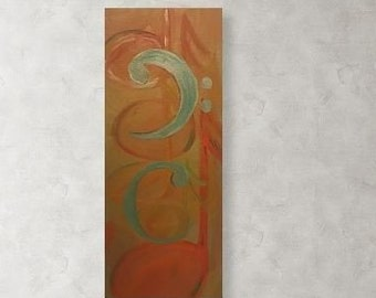 """Original Art """"Fusion"""" for the Musical Enthusiast - Orchestra, Symphony, Rock & Roll, or Country - Home and Office Wall Decor Orange and Gold"""