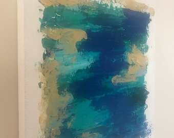 """Sky Abstract Painting - Original Artwork on Canvas - Blue, Teal, Gold - Tropical, Coastal Artwork for the Home, Office 16x14"""" - Signed"""