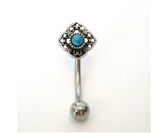 Vch Jewelry Vertical Hood Surgical Steel Turquoise Stone Flower Curved Barbell Vch Jewelry Bar Hood Ring 14gate Jewelry