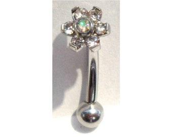 Iridescent AB Crystal Daisy Vertical Clitoral Hood VCH Barbell Genital 14 gauge
