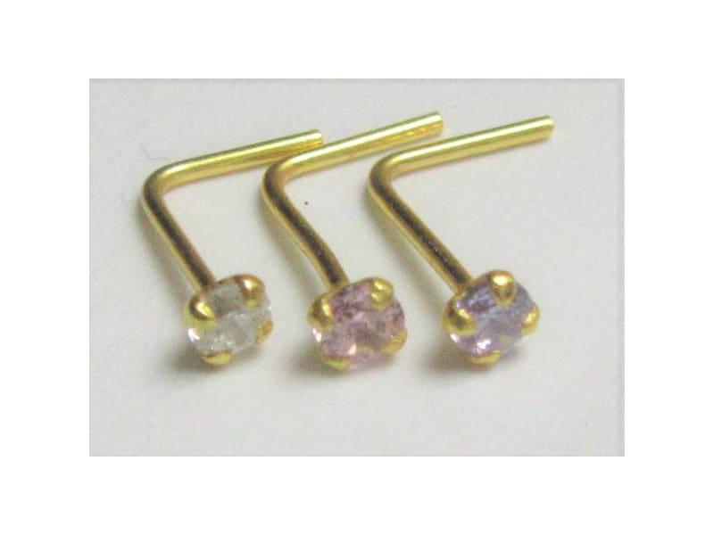 Pink Triple CZ Crystal Nose Ring Stud Pin L Shape Sterling Silver 22 gauge 22g
