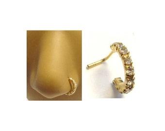 14k Gold Plated L Shape Nose Ring Stud Hoop Clear CZ Crystals 20g 20 gauge Both Sides of Nose