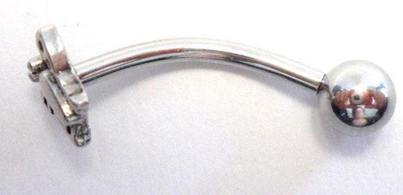 Acier Chirurgical Goutte /& Dangle Clear Gem Hoop VCH clitoridien clito Hood Ring 14 gauge