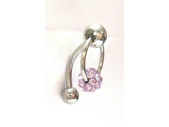 Iridescent Crystal Ball Dangle Bar VCH Jewelry Clit Clitoral Hood Ring 14 gauge