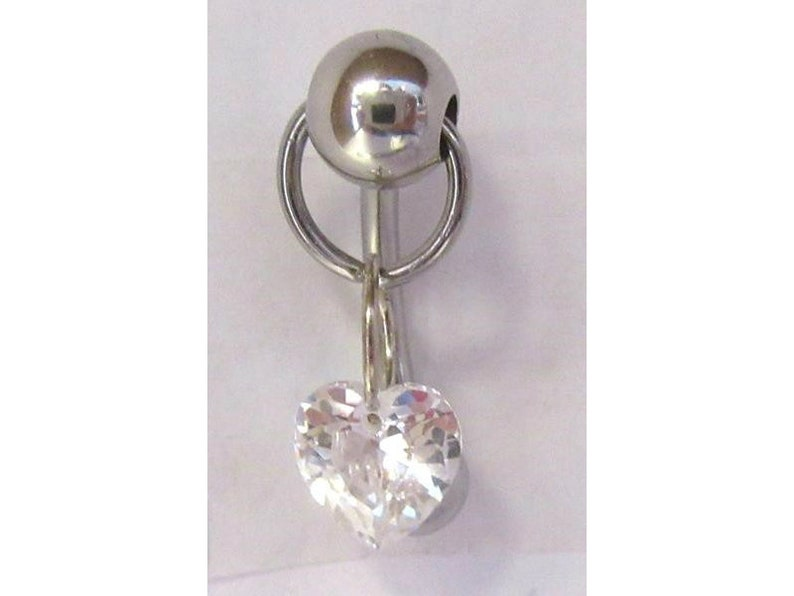 VCH Jewelry Vertical Hood Heart Clear Crystal Dangle Barbell Bar VCH Clit Clitoral Hood Ring 14 Gauge 14g Intimate Jewelry