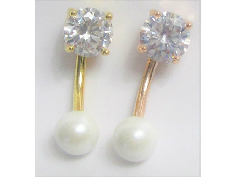 14k Gold Plated Flower Crystal White Pearl VCH Vertical Clitoral Clit Hood Ring