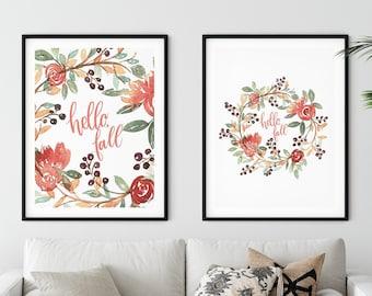 Fall Watercolor Wreath Print | Seasonal Art | Fall Print | Watercolor Art | Wall Decor for Fall