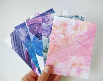 Greeting Cards | Variety Pack | Set of 5 | Alcohol Ink Collection | Folded | Blank Card Set | Card Pack | Birthday Cards | Any Occasion