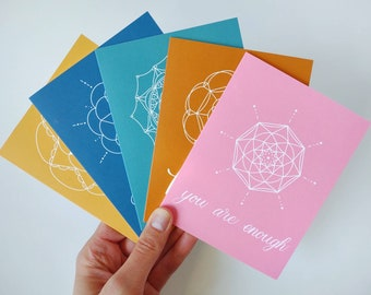 Greeting Cards | Variety Pack | Mandala Collection | Hey, Hi, Hello Card Set | Folded | 5 Blank Cards | Birthday Cards | Friendship Cards