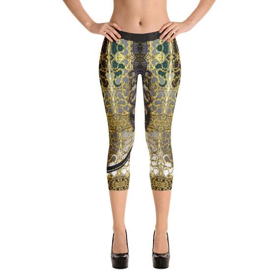 75291ca5376fff BAROCOCO Grey Decorated Devarshy Ladies Printed Capri Leggings | Etsy