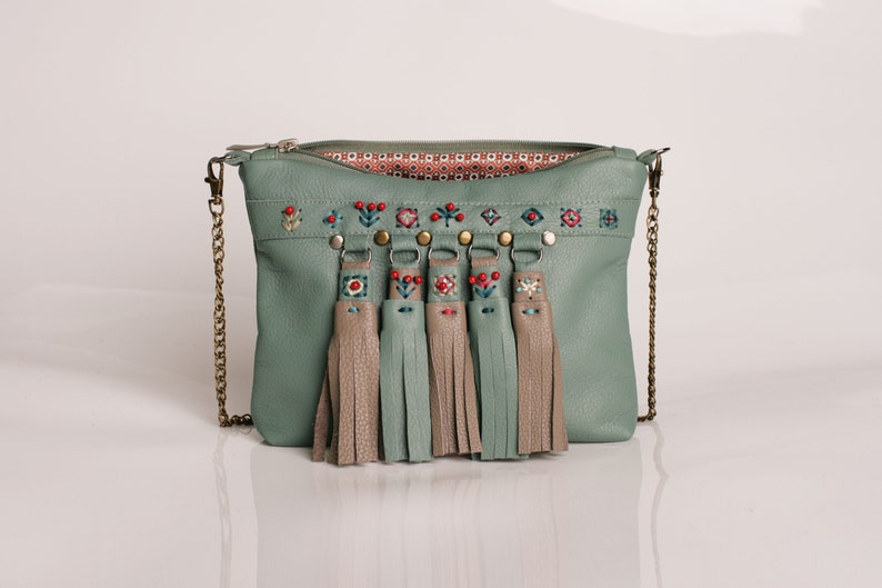 Green leather crossbody ethnic purse with
