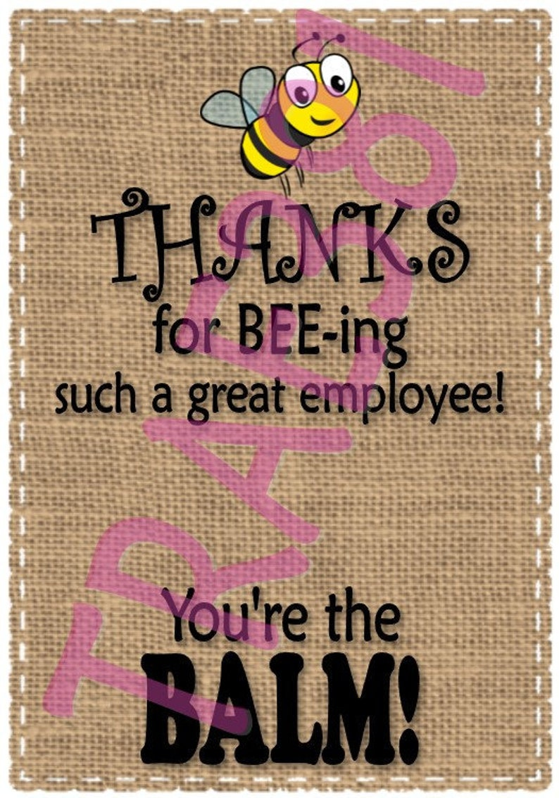 8ccb58c659e3 Employee Staff Appreciation Thank You Gift Tags for Burt s