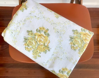 Vintage double bed sheet, vintage bed sheet fabric, Roses pattern bed sheet, yellow flowers, cotton bed sheet
