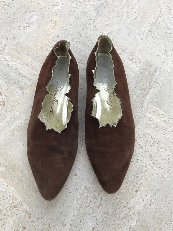 VINTAGE Miss Maud by Maud Frizon Suede Pixie Shoes