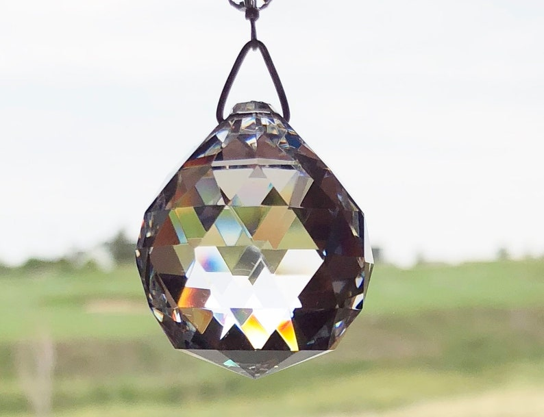 30 cm Crystal Prism With 14 Blue Crystals Crystal Sun Catcher