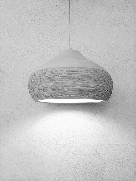 Pendant Light Grey Large Ceramic Lamp Shade Kitchen Etsy