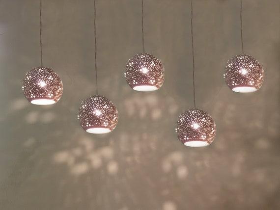5 Pendant Gray Ceramic Lampshades Hanging Lights Ceiling Etsy