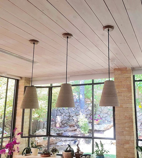 3 Pendant Lights Perforated Ceramic Kitchen Lighting Etsy