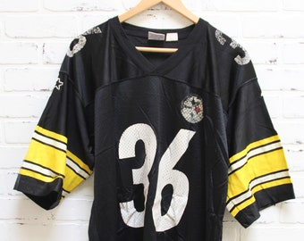 556ad8ca23b Vintage 90s PITTSBURGH STEELERS Jerome Bettis 36 Black Jersey, 90s clothing,  Vintage Starter Jersey, Players Inc, 90s fashion, V Neck, Large