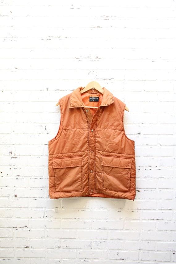 Vintage 80's Burnt Orange Button Down Puffer Vest,