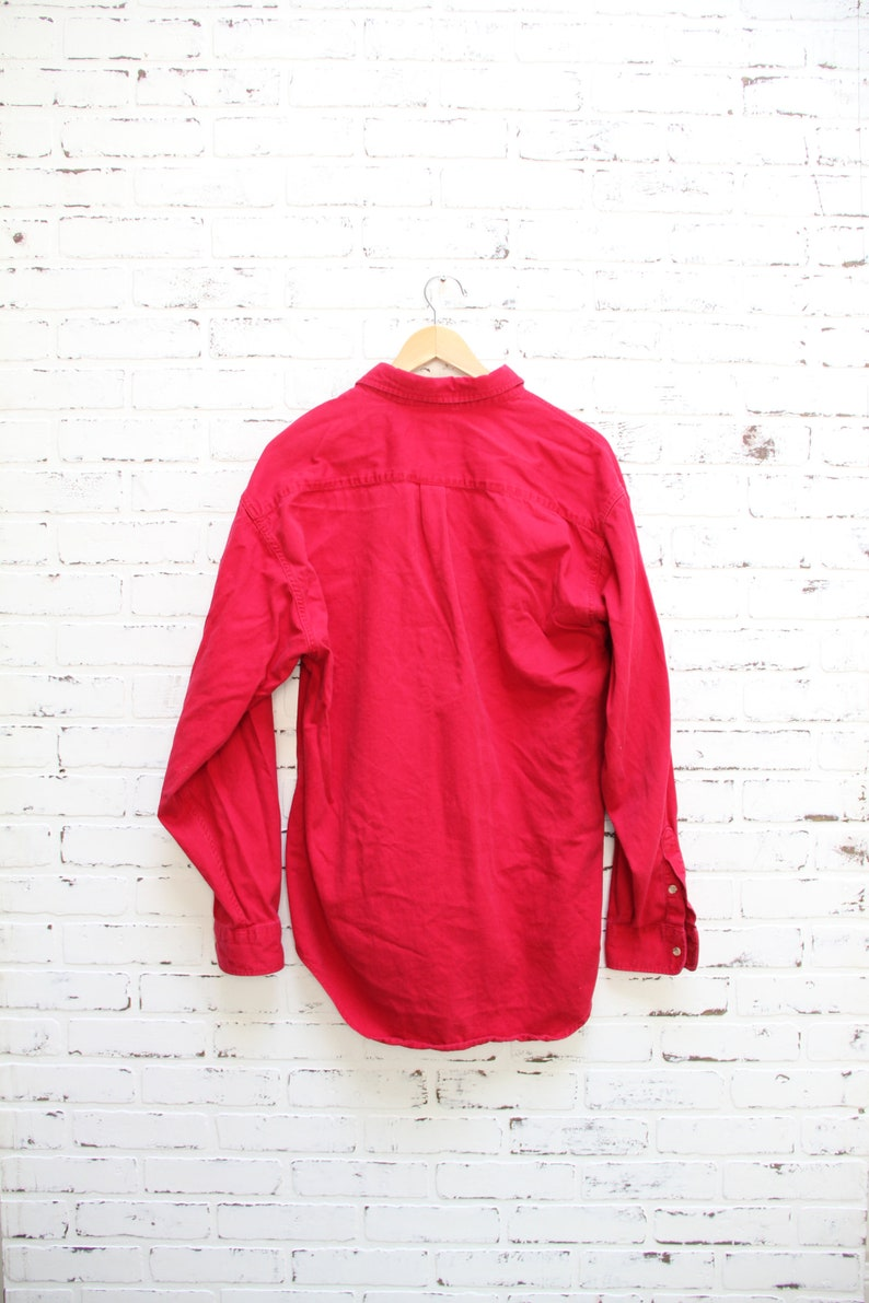 Men/'s Large Crew Neck 80s clothing Vintage 80s DUCK HEAD Red Long Sleeve Shirt 80s outdoors