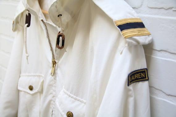 Vintage 80's Ralph Lauren White Full-Zip Nautical… - image 5