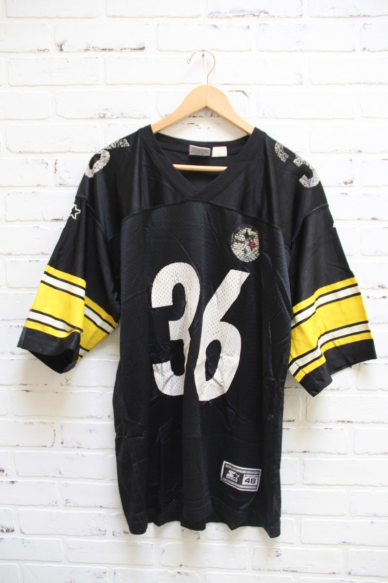watch 39ad6 a22dd Vintage 90s PITTSBURGH STEELERS Jerome Bettis 36 Black Jersey, 90s  clothing, Vintage Starter Jersey, Players Inc, 90s fashion, V Neck, Large