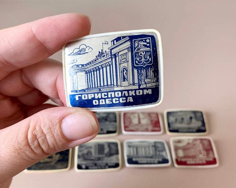Set of 8 Odesa  Odessa Plastic Pins Badges Enamel Pins Badges of the Famous Black Sea City USSR Lapel Pins Tourism Ukraine Soviet Union