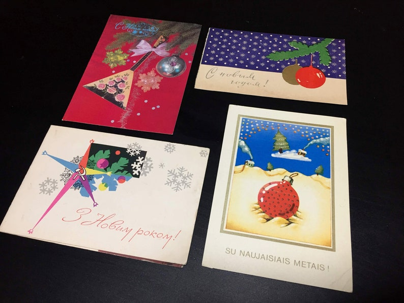 When Is Russian Christmas.Set Of 4 Vintage Russian Soviet Postcards Christmas Cards Happy New Year Ussr
