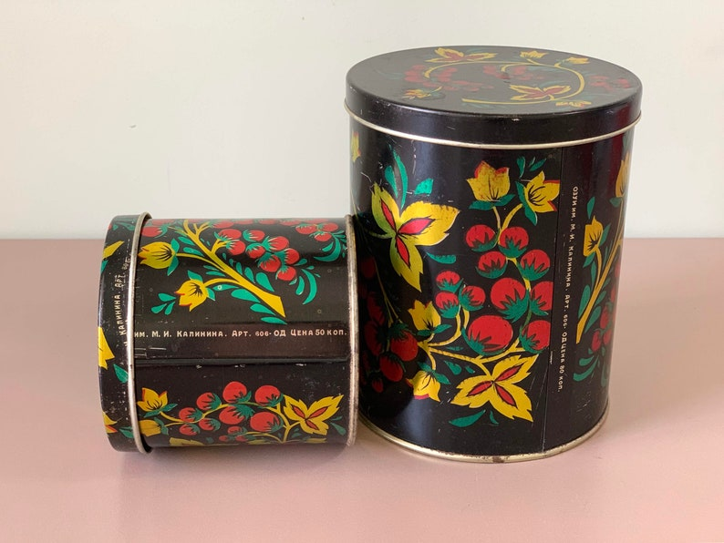 Storage Gift for Mom Retro Farmhouse Decor 2x Soviet Vintage Floral Retro Kitchen Storage Tin Canisters Winter Home USSR Shabby Chic