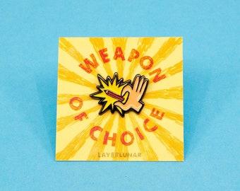 weapon of choice pencil enamel pin