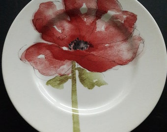 Red poppy plate | Etsy