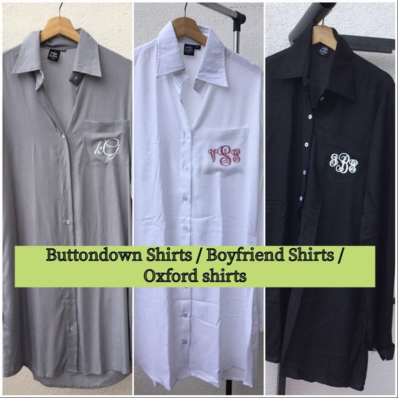 Bridesmaid Button Down Shirts Bride Oxford Getting Ready Gift Oversized Monogram Button Up Shirt Bridal party 9 Shirt Set