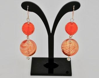 Orange earrings with glass pearls