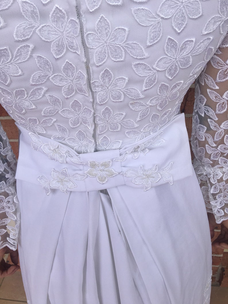 1960s White Beaded A-line Wedding Dress with Train.
