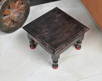 DharmaObjects Solid Mango Wood Hand Carved Tibetan Buddhist Prayer Puja Shrine Altar Meditation Table Flower of Life