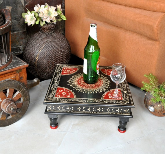 Surprising Indian Room Furniture Side Table Black Chowki Square Low Tables Small Dining Table Home Decor Machost Co Dining Chair Design Ideas Machostcouk