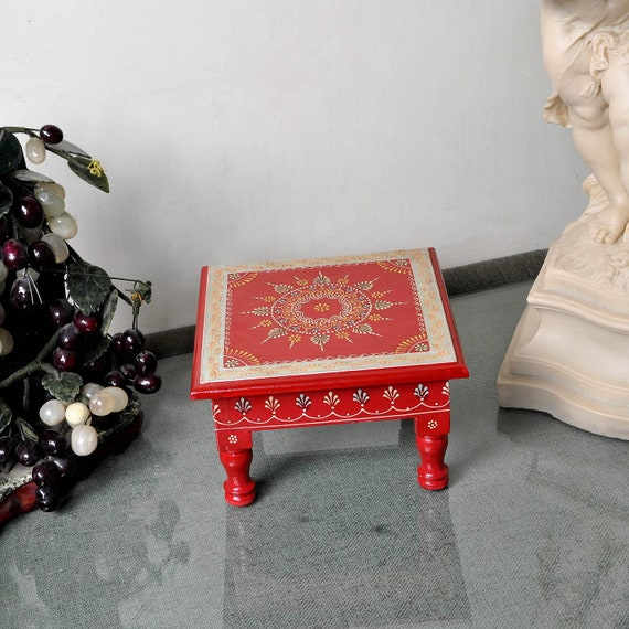 House Wedding Decoration Indian Wooden Furniture Corner Table Hand Painted  Square Low Dining Table