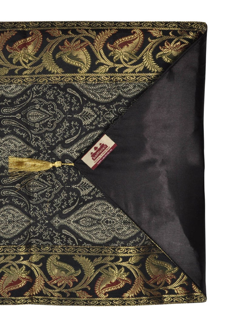 Home Decor Indian Silk Paisley Design Brocade Black Table Runner 72 x 16 Inches
