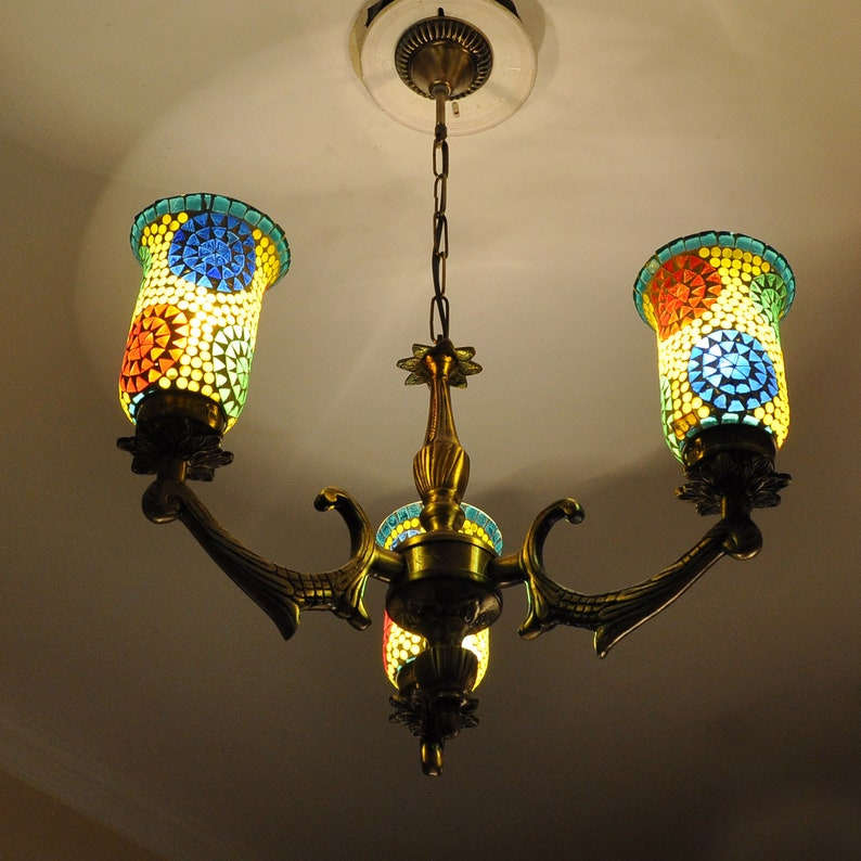 Glass Ceiling Lights Hanging Lampshades For Living Room Bedroom Pendent Lamp 3 Light Chandelier