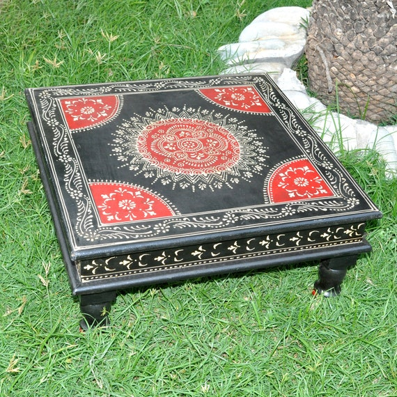 Wondrous Indian Room Furniture Side Table Black Chowki Square Low Tables Small Dining Table Home Decor Machost Co Dining Chair Design Ideas Machostcouk